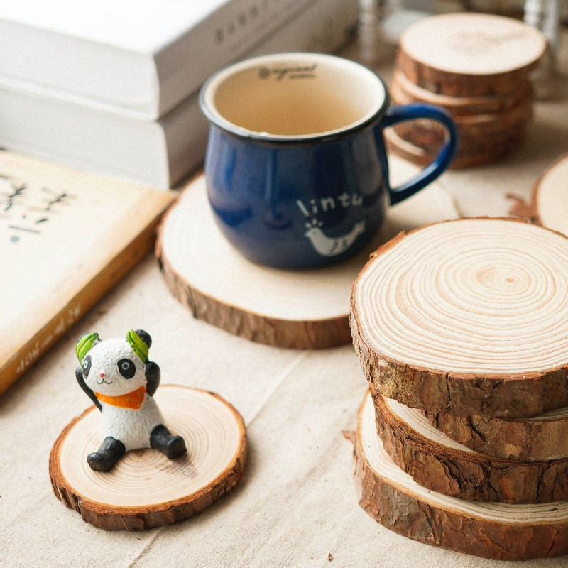5pcs Unfinished Wood Slices Diy Craft Decorations For Birthday Party Kids Table Number Cards Wedding Party Decoration Gift Tags