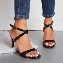 Liren 2019 Summer Gladiator PU Sandals Woman Thin High Heels Shoes Buckle Strap Pointed Toe Black Apricot Office Big Size 35-42