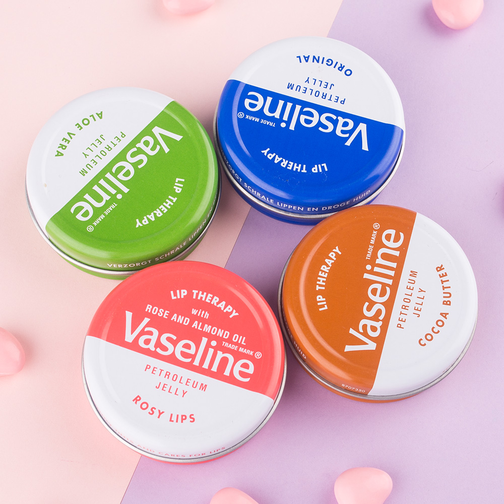 Original product From UK Vaseline Lip Balm 20g 4 kinds colors Lip Therapy Aloe Vera Cocoa Butter Rosy LIPS And Original one pcs
