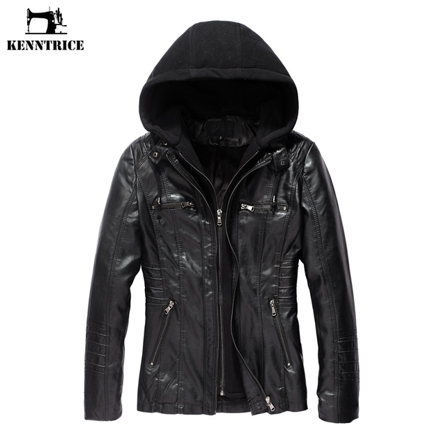 f7f1f9b3bdc7 KENNTRICE Women s Coats Leather Jacket Women Faux Leather Coat Hoodie Jacket  Black Hooded Coats Ladies Leather