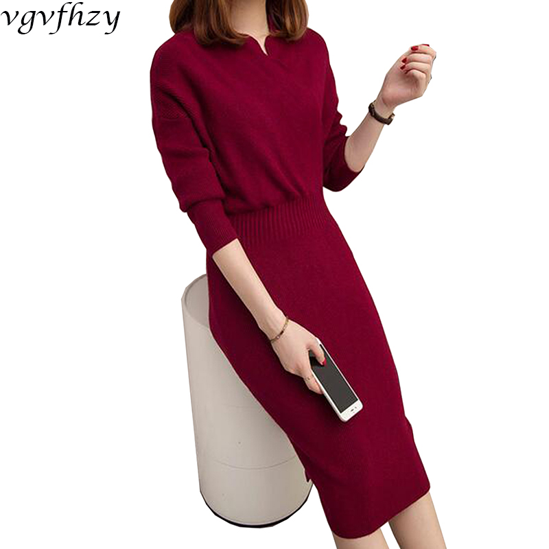 Long Sweater Dresses For Women 2017 Autumn Winter Brand Design Size Sheath V-Neck Pullovers Brief Thick Warm Knitting Dress LY58