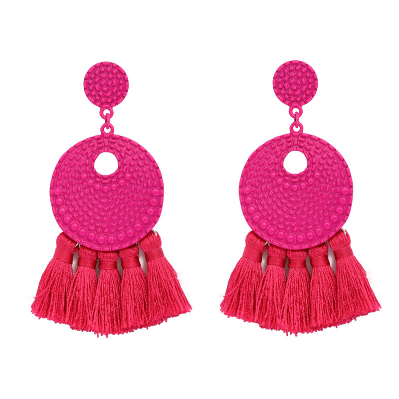 Fashion Ethnic fringe earrings round Hollow bohemian statement big Pendientes tassel earring 2019 Jewelry