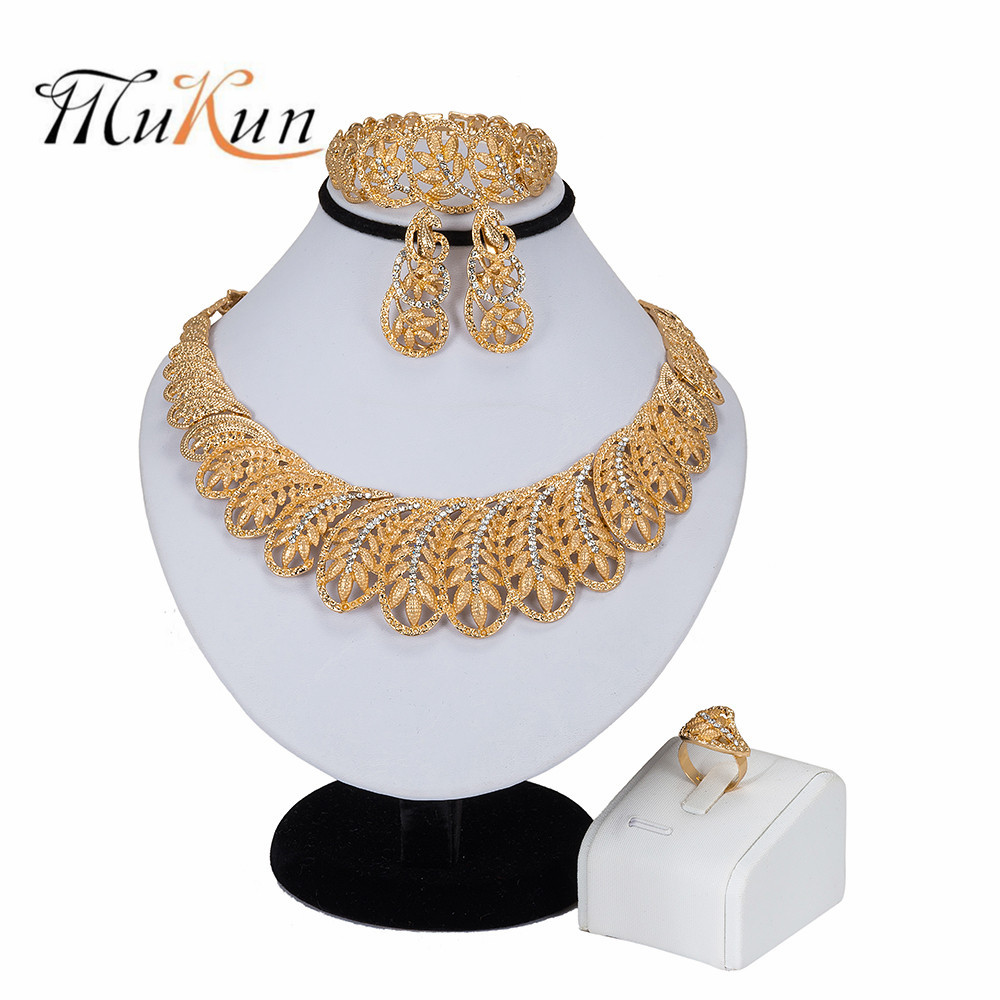 MUKUN 2019 Crystal Bridal Jewelry Sets For Women Nigerian African Beads Jewelry Set Turkish Wedding Necklace And Earrings Set