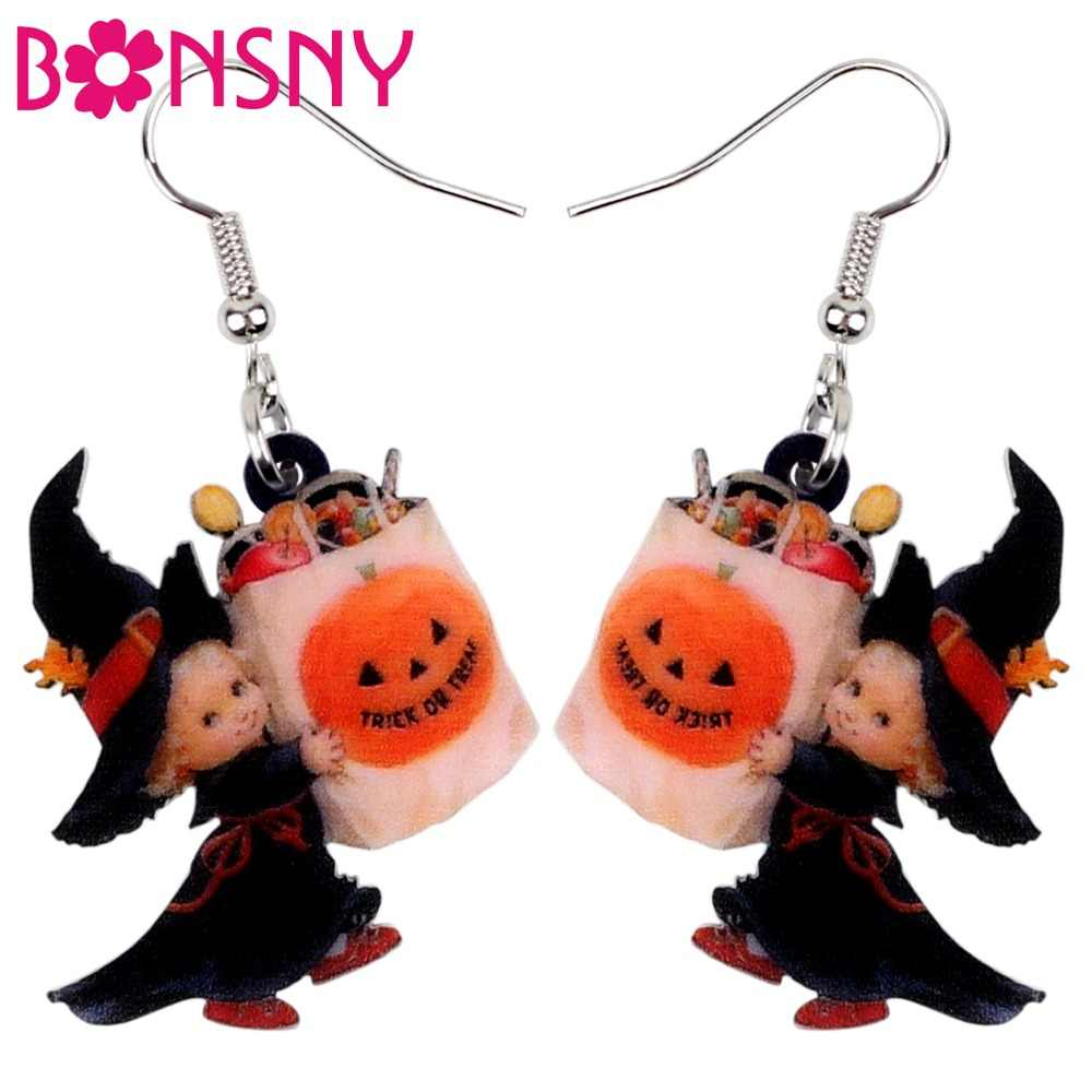 Bonsny Acrylic Halloween Sweet Angel Candy Bag Earrings Drop Dangle Party Decoration Costumes Jewelry For Women Girls Teens Gift