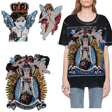 1pc Sequined Patches Crown Angel Wings Large Goddess Cupid Arrow Sew on T-shirt Jacket Fashion Badge Applique Accessories TH1092(China)