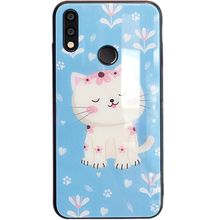 Huawei P20 Lite Glass Case,ALIVO Cartoon Cute Cat Tempered Glass Case+Silicone full coverage protection For huawei p20lite Cover
