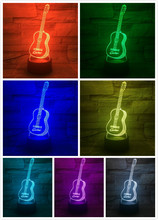 USB 3D LED Night Light Bass Guitar Lampara Multicolor RGB Boys Child Kids Baby Gifts Atmosphere Table Lamp Bedside neon india taj mahal usb 3d led night light veilleuse lamp decoration rgb kids baby gift famous buildings table lamp bedside neon