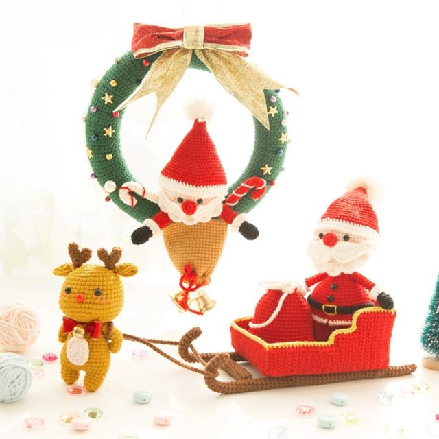 Corona de Navidad y trineo Elk Santa Claus inacabada muñecas mano ...