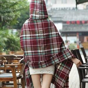 Image 5 - RUNMEIFA poncho pour jeune fille bohémien avec pompon, écharpe à carreaux, cape à capuche, vêtements pour femmes, tendance 2019