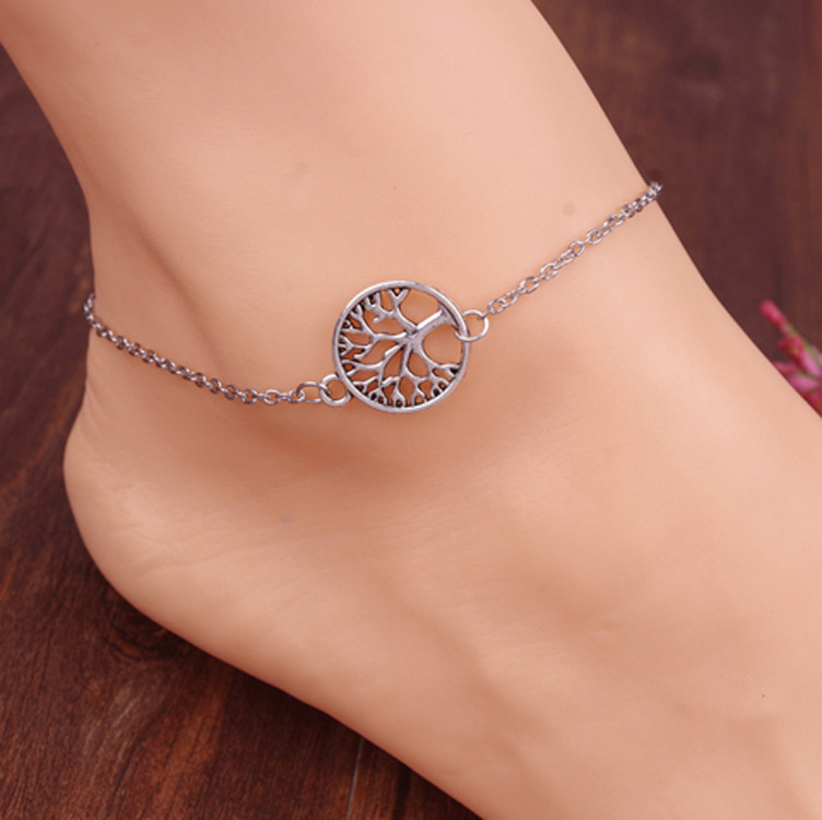 Sexy Women Lady Anklet Silver Tree Charm Foot Chain Beach Sandal Ankle Bracelet
