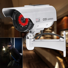 Dummy Fake IP Camera Simulation Emulational Bullet CCTV Camera Solar Powered With LED Light For Outdoor Home Security