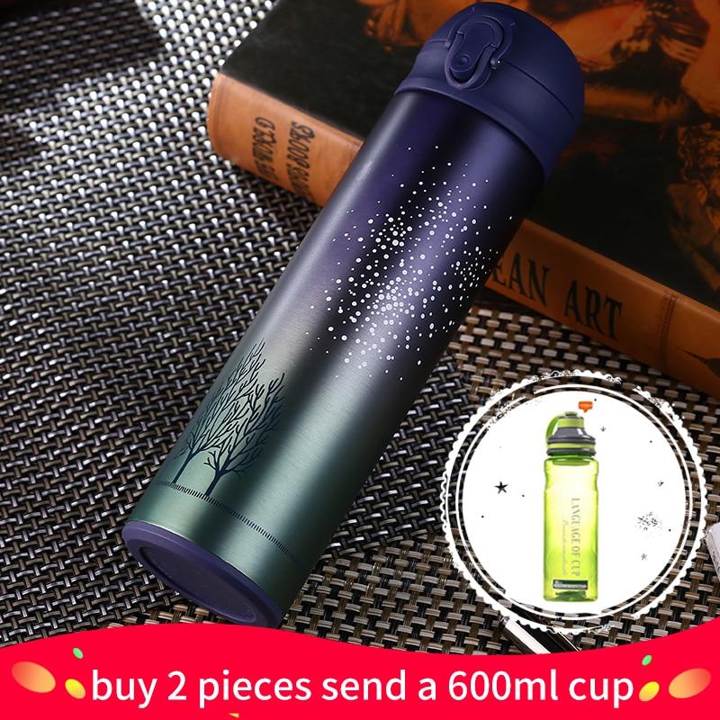 Nuevo diseño de doble pared de acero inoxidable frascos de vacío 500 ml termo taza café té leche taza de viaje termo botella regalos thermocup