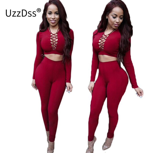 9dd8b7a83 Elegant Two Piece Rompers Womens Jumpsuit Sexy V Neck Tie Up Long Sleeve  Bodysuit Night Club