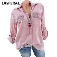 LASPERAL Blouse Shirts Women Fashon Solid Long Sleeve Loose Shirt Women Clothing Plus Size 4XL Feminine