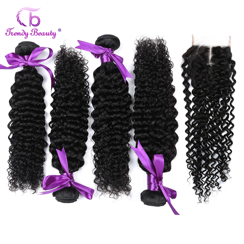 Trendy Beauty Hair 4 Bundles with 4X4 Lace Closure Malaysia Kinky Curly Human Hair Weave Bundles