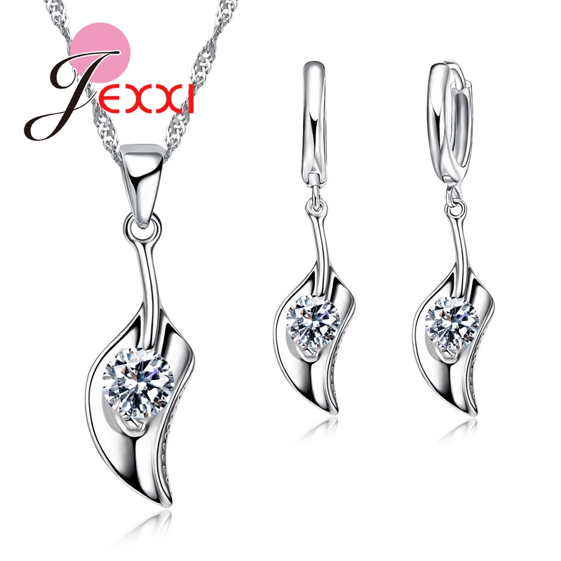 925 Sterling Silver Half Heart Pendant Necklace Earrings For Women Cubic Zirconia Stone Jewelry Sets Bridal Bijoux