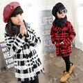 Winter clothing hot girls plaid niños traje collar doble de pecho abrigo niños clothing rojo negro de lana