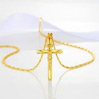 זהב צהוב מלא צלב INRI ישו צלב שרשרת תליון לנשים בחורה אופנתי אביזרי וינטג'