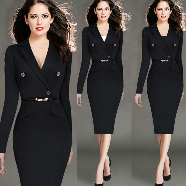 4xl Fashion Women Retro Vintage Working Dress Elegant Lady Black Long Sleeve Pencil Office Wear