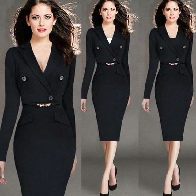 ab0d423d834 4XL mode femmes rétro Vintage robe de travail élégante dame noir à manches  longues robe crayon