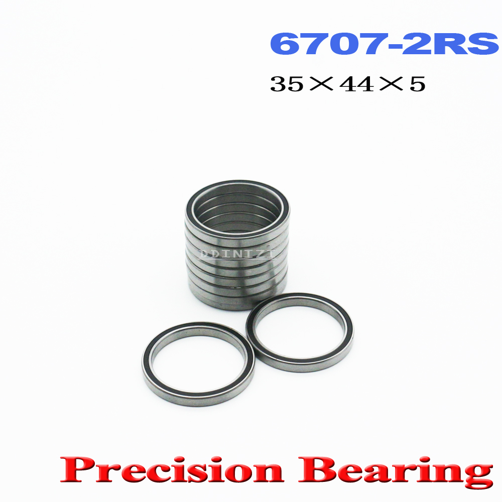 6707 2RS Bearing 35*44*5 mm ABEC-1 Slim Thin Section 61707RS <font><b>6707RS</b></font> Ball Bearings 6707 RS (4 PCS) image