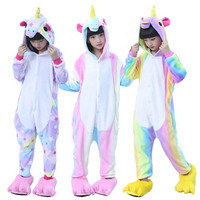 2017 New Children Kid Rainbow Star Unicorn Pajamas Winter Pyjamas Flannel Hooded Pajama Sets Animal Sleepwear
