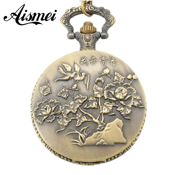 25pcs/lot Vintage Antique Bronze Peony Pocket Watch Necklace Pendant Gifts Wholesale Send By EMS Or DHL