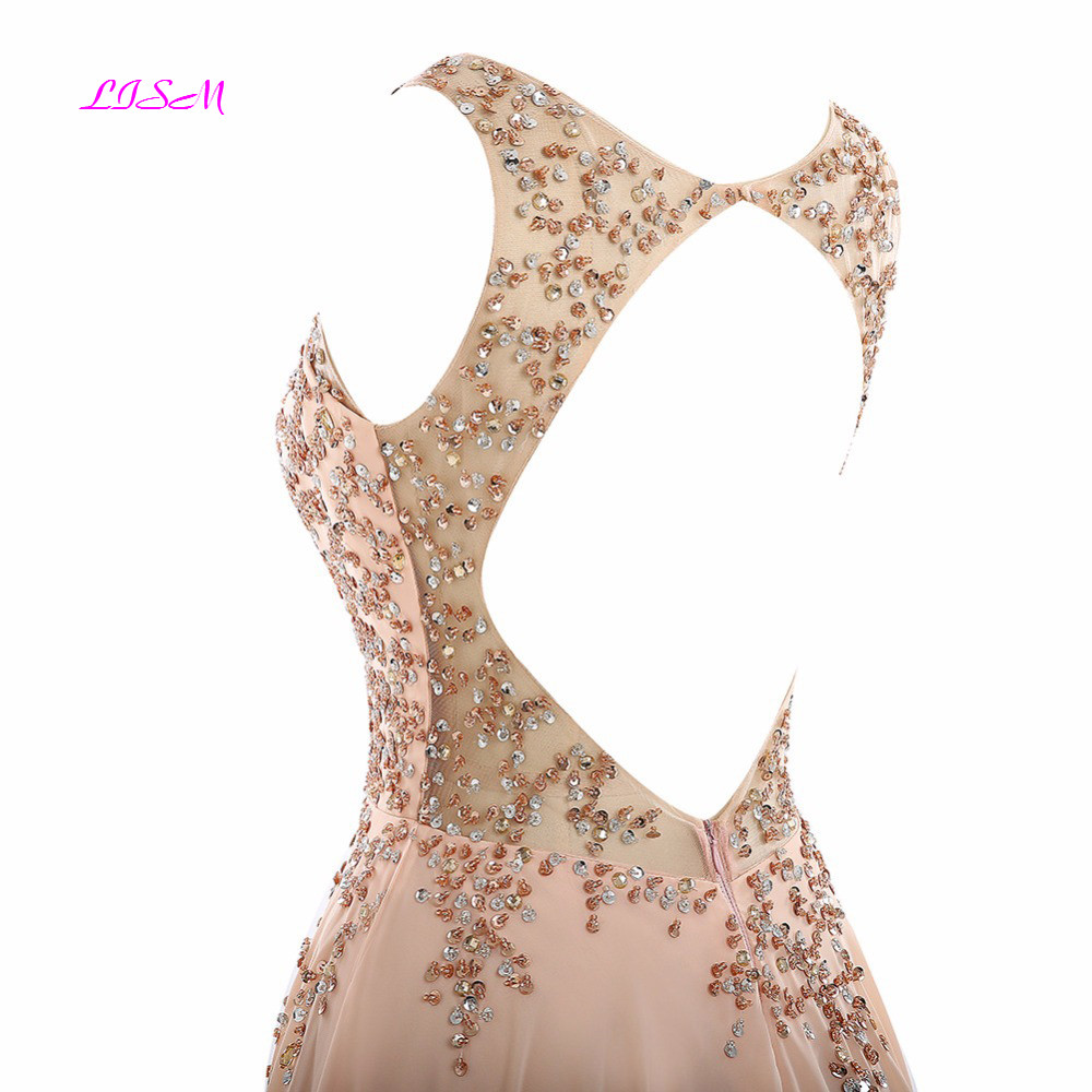 Real Photos Chiffon Prom Dress for Womens Sexy Open Back Crystals Beaded Long Formal Gowns Elegant A-Line Dubai Bridesmaid Dress