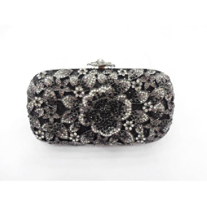 ФОТО A6158BK BLACK crystal Rose Floral flower Lady fashion Bridal Party Night hollow Metal Evening purse Handbag case box clutch bag