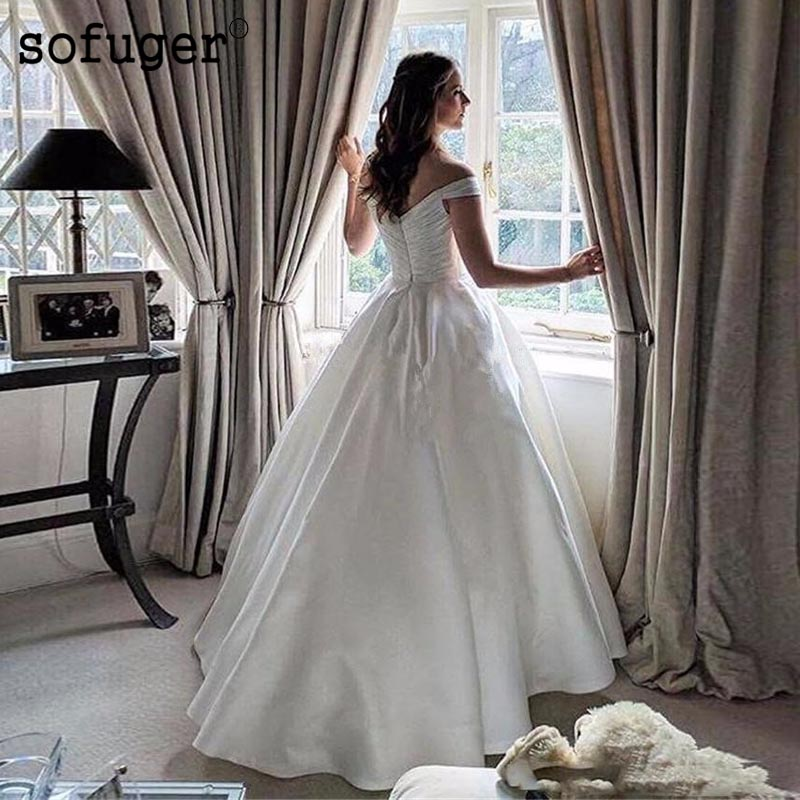 Wedding Dress White Vs Off White: 2019 White Elegant White Satin Wedding Dresses Zipper A