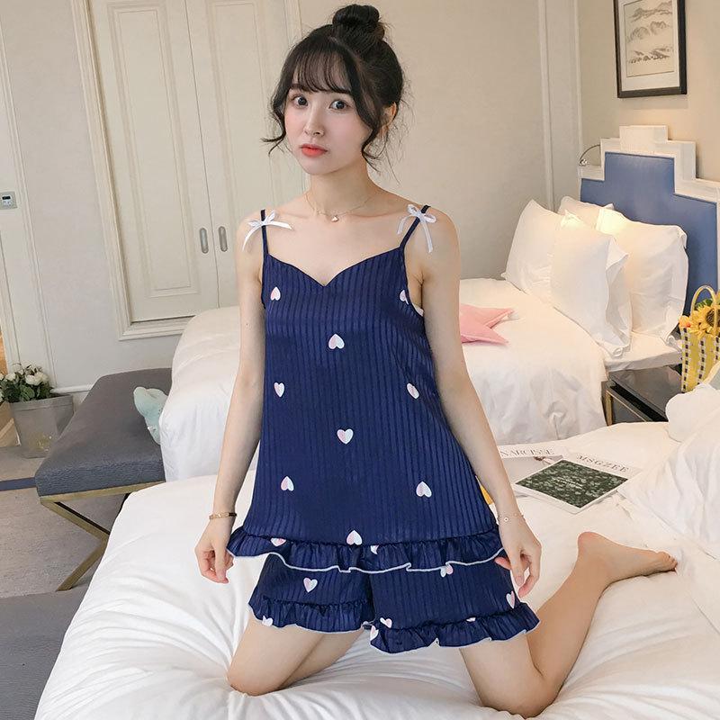 BLUE 2019 Summer Sweety Satin Female Strap Top&Shorts Slim Mini Striped 2PCS Sleepwear Women High Quality Pyjamas Suit M-2XL(China)