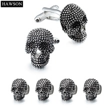 HAWSON Fashion Skull Cuff links and Studs Set for Tuxedo Mens Accessory Party
