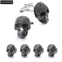 Hawson moda crânio manguito links e parafusos ajustados para smoking masculino acessório festa
