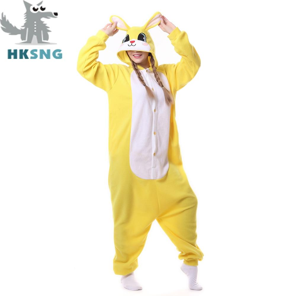 HKSNG New Adult Animal Yellow Bunny Rabbit Pajamas Cartoon Kigurumi ...