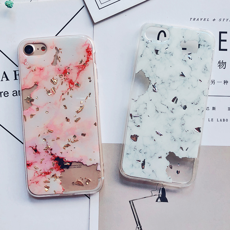 Luxury Gold Foil Bling Marble Phone Cases For iPhone X 10 Cover Hole Soft TPU Cover For iPhone 7 8 6 6s Plus Glitter Case Coque (11)