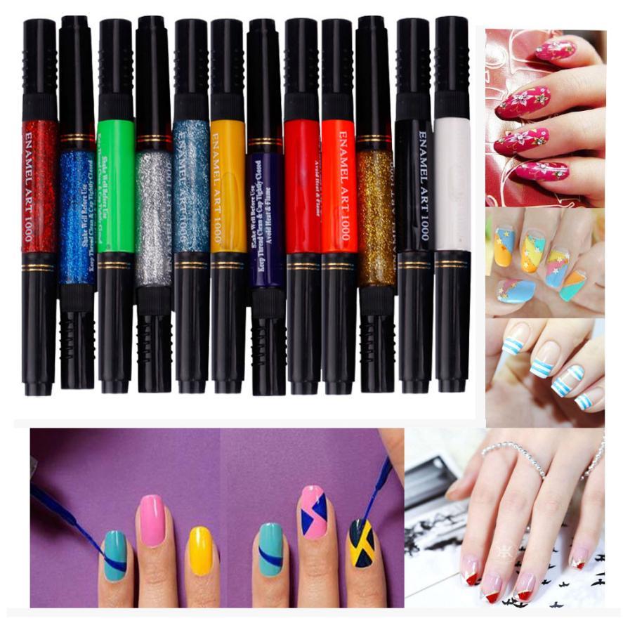 12 Colors Two Way 3d Acrylic Nail Polish Pen Dotting Brush Pure