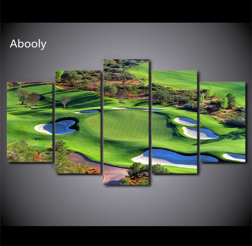 5Piece Canvas Art Green Golf Course Painting Top View Wall Art Movie Decorations HomePrintRoom Des Fr Decor Canvas Prints