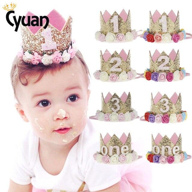 Baby Birthday Party Hat Princess Crown Headband 1 2 3 Year Decorations Shower 1st Children Supplies