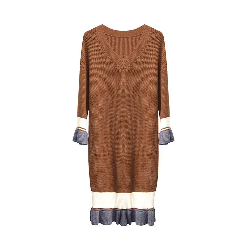 2018 New Spring Women dress Knitting Full Sleeve Loose V-Neck Long In Sweater Dresses Pale Blue Ga Color Apricot F6219