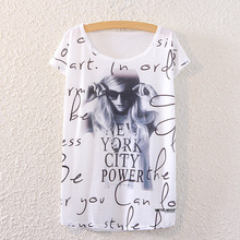 drop ship Coruja 2017 summer time shirt for girls punk woman print bat brief sleeved T-shirt