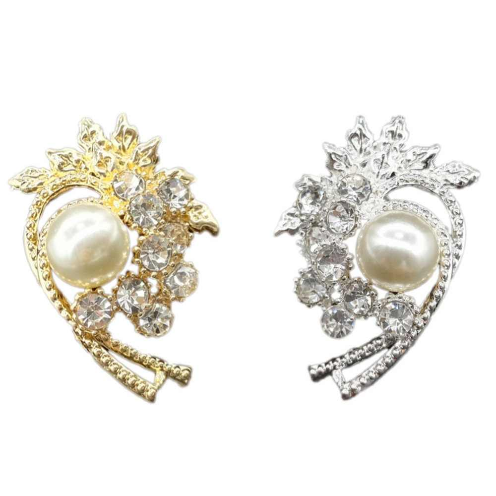 1 Piece Rhinestone Brooch Inlaid Pearl Flower Retro Brooch Pin For Women Gift Wedding Jewelry