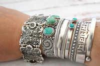 Bohemain Vintage Metal Silver Carving Flower Cuff Bracelet Gypsy Summer Style Coachella Bangle Bracelets for Women Men Jewelry