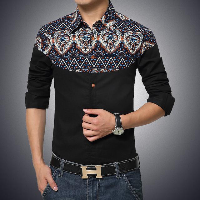 Marca de fábrica famosa 2016 de Los Hombres de Moda Casual de Algodón de manga larga Floral Camisa Delgada Para Hombre Vestido de Slim-Fit-camisa Camisa de Los Hombres Sociales 4XL