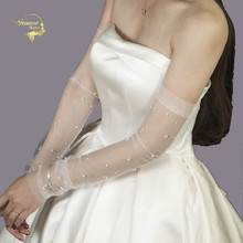 In Stock Long Tulle Bridal Gloves Pearls Wedding For Womens Opera Length Bride Arm Sleeve Sun Protection Cheap