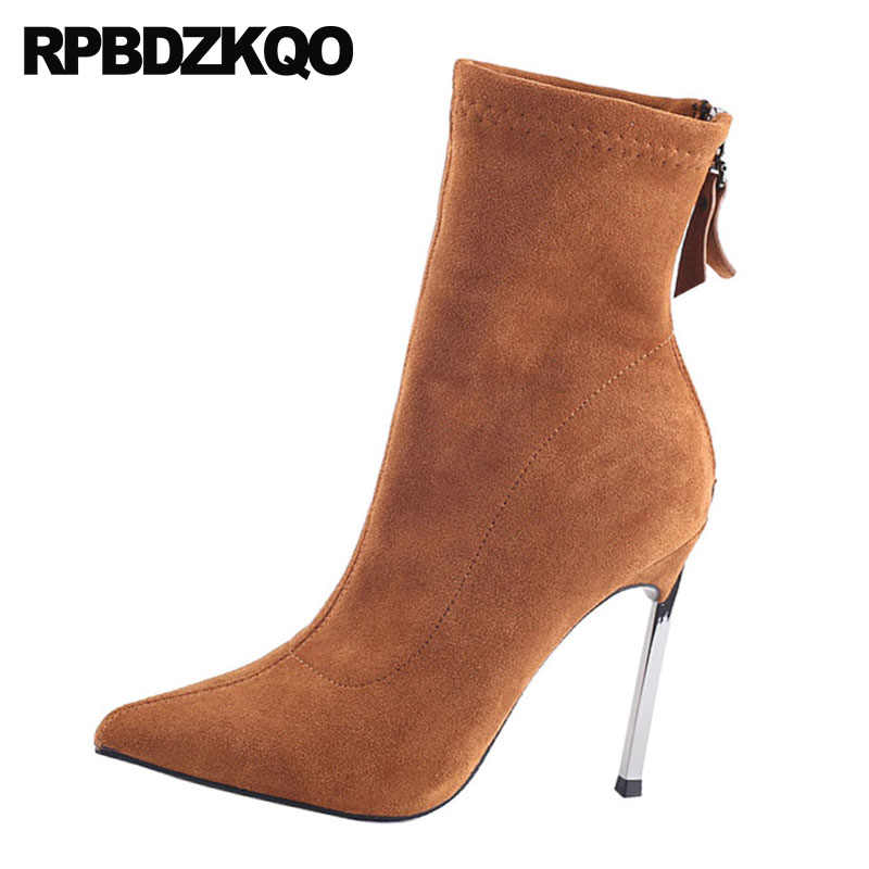 f6fad353af ... Sexy Purple Slim Extreme Fetish Ankle Stretch High Heel 9 Suede Metal  Boots Stiletto Women Brown ...