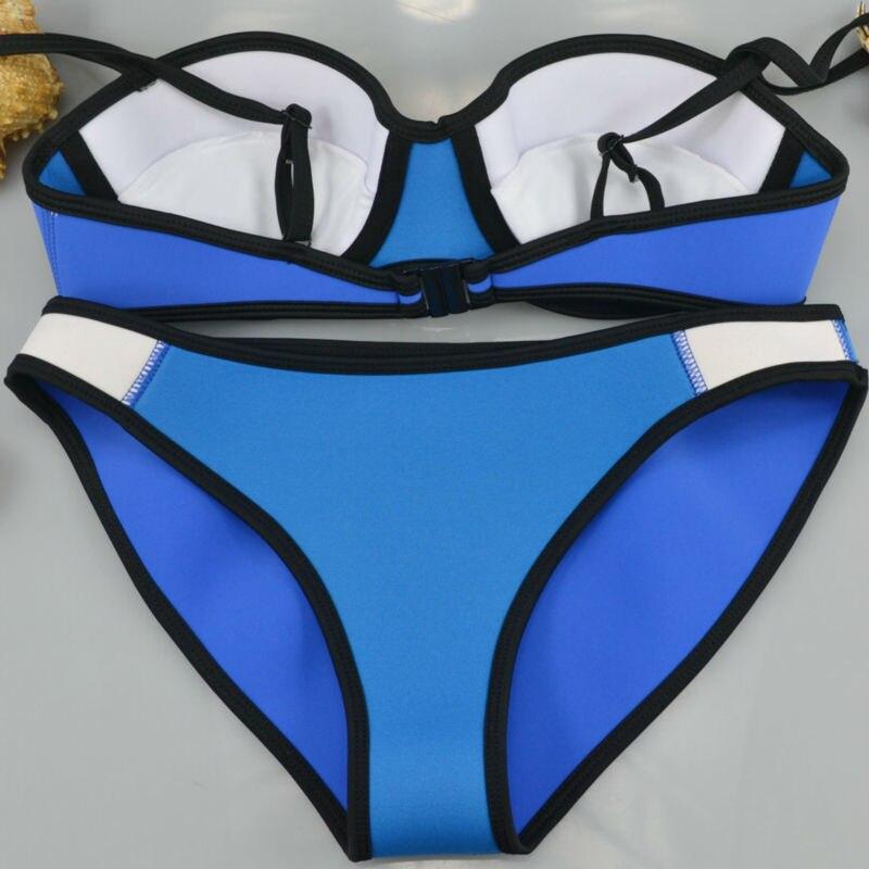 100% Neoprene HIGH QUALITY Removable push-up padding Shoulder belt patchwork Women bikini Neoprene Triangle Bikini set Bathsuit 13