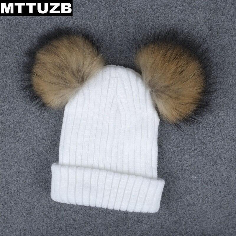 MTTUZB Femmes enfants mode chapeau chaud avec deux boules de poils dame de  filles bonnet tricoté femelle casual chapeaux femmes de Parent-enfant cap 7e981e7a3ba