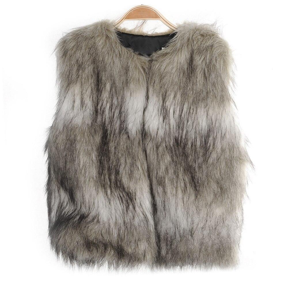 5955fdd36b66 Fashion Brown Baby Fur Vest Coat Girls Autumn Winter Warm Children s ...