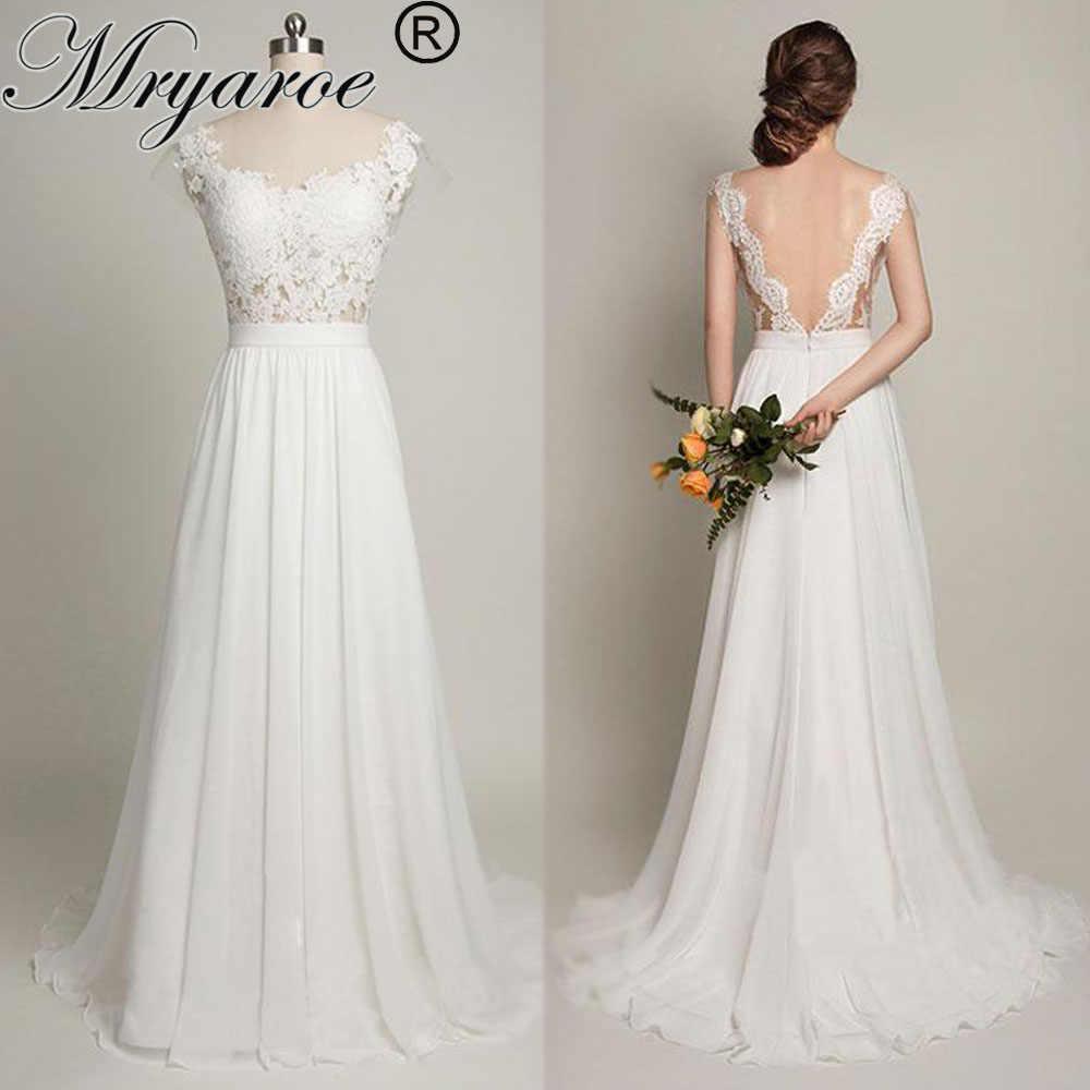 290bd93b565 Mryarce пикантное пляжное с открытой спиной свадебное платье одежда с  рукавами Прозрачный лиф кружевное шифоновое линии