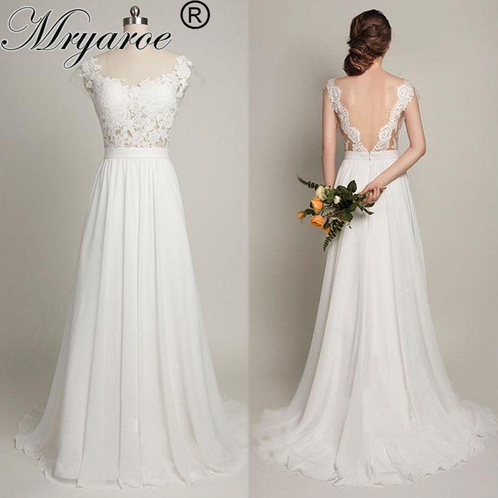 Bodice Wedding Gown: Mryarce Sexy Backless Beach Wedding Dress With Cap Sleeves